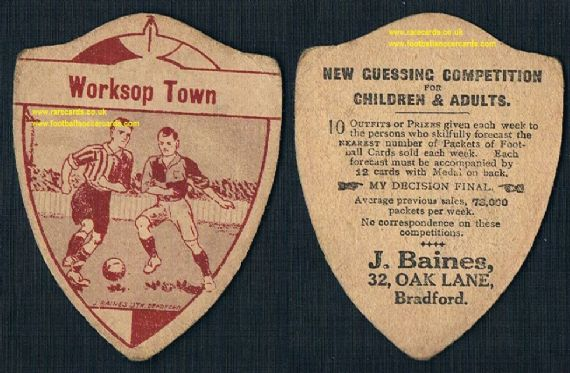 1910s Worksop Town Baines shield-shaped football card